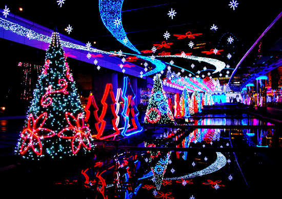 An LED Christmas light display; photo courtesy Chris Delker