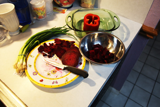 Beets sliced and cubed; photo © Kelly Smith