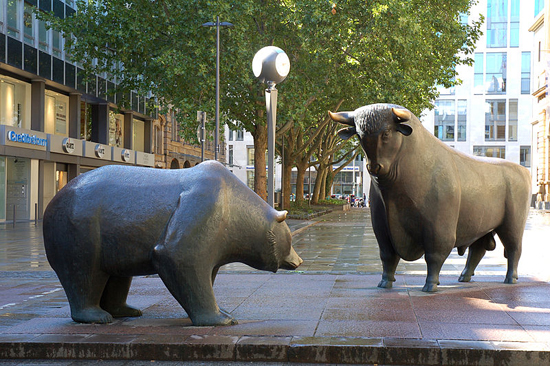 Bull and bear markets; photo courtesy Eva K