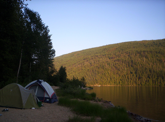 Camping by Barriere Lake, British Columbia; photo courtesy Justin Kopp