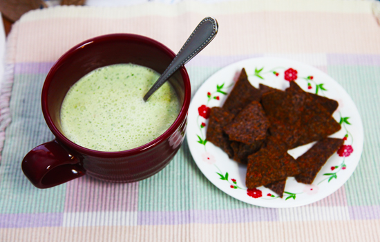 Cold cucumber soup and chips; photo © KSmith Media, LLC