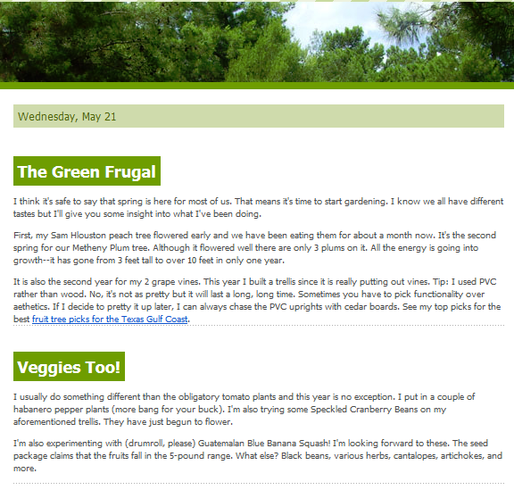 The May 2014 Green Frugal Newsletter; image © 2014 KSmith Media, LLC
