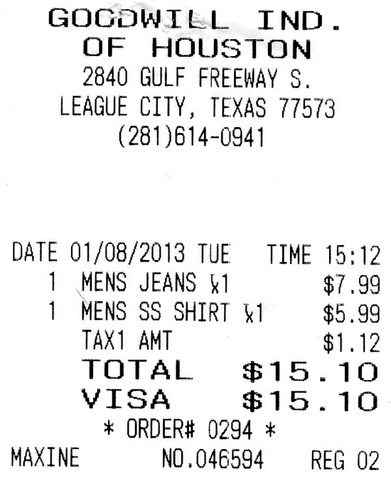 A Goodwill clothes purchase receipt; photo © Kelly Smith