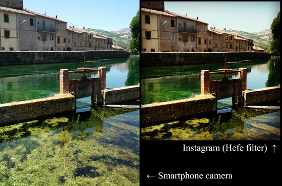 Instagram example, before and after; photo courtesy sailko