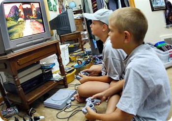 Kids playing video games; photo courtesy Amiee Marshall