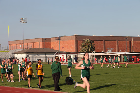 Girls compete at a middle school track meet; photo courtesy Kelly Smith