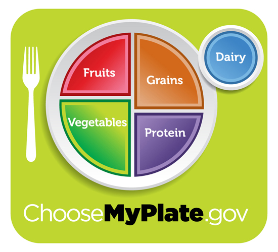 Recommended balanced diet; photo courtesy www.choosemyplate.gov
