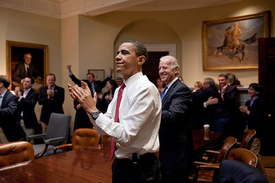 Obama celebrates passage of Obamacare; photo courtesy US Gov.