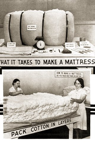 Mattress manufacturing process; photo courtesy USDA