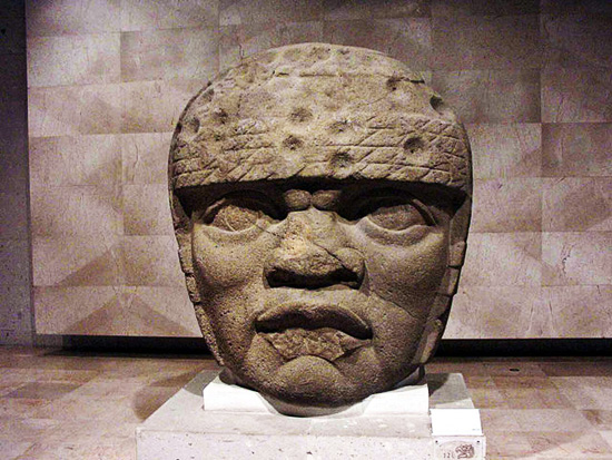 An Olmec stone head from Mexico; photo copyright 2014 Maribel Ponce Ixba