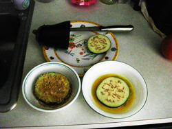 Panko crusted eggplant preparation; photo © KSmith Media, LLC