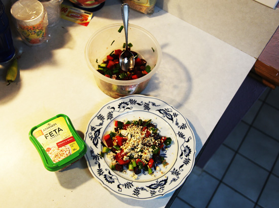 Roasted beets and feta ready to eat; photo © Kelly Smith