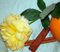 Ingredients of rose, cinnamon, and orange; photo courtesy Brenna Stone