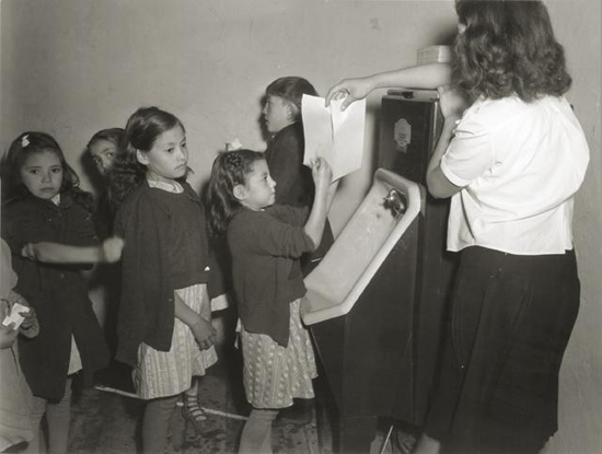 Schoolchildren washing their hands; photo courtesy USDA