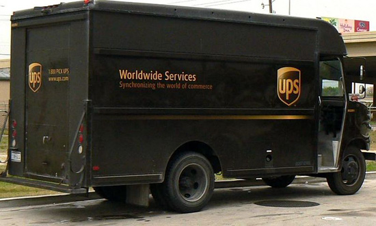 A UPS package delivery van